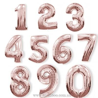 Giant Rose Gold Foil Number Balloon 95cm