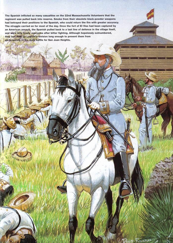 el héroe de la batalla: General Vara del Rey entre sus soldados