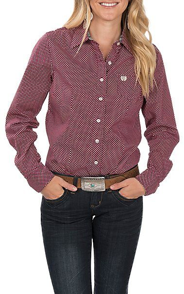 100536fd944bab Cinch Women's Long Sleeve Magenta Dot Print Western Shirt | Cavender's