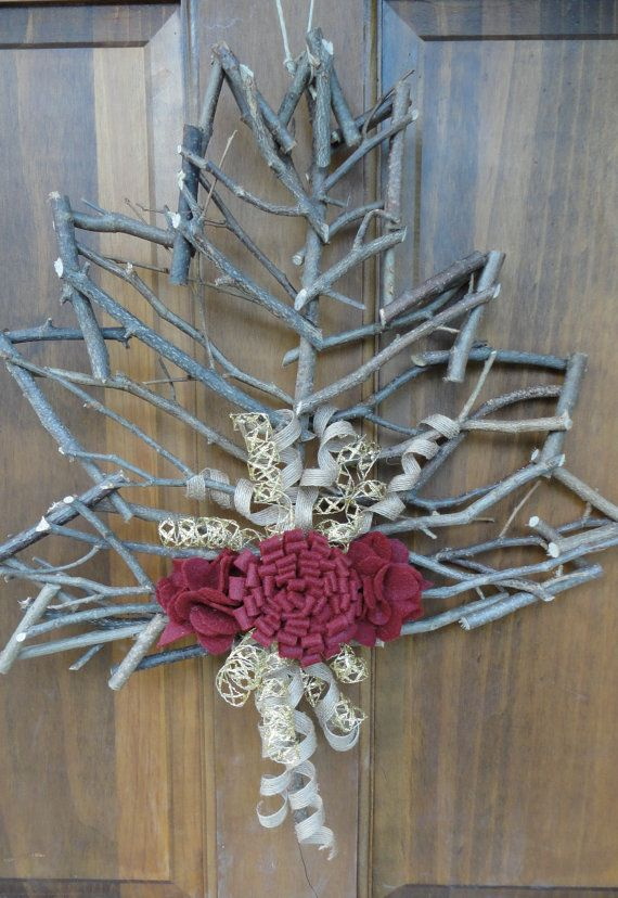 Ruby & Gold Fall Leaf Front Door Decoration by StarCityWreaths, $20.00