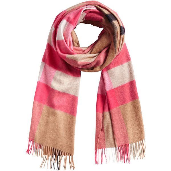 Burberry cashmere oversize check scarf (18.723.220 IDR) ❤ liked on Polyvore featuring accessories, scarves, cashmere scarves, burberry shawl, cashmere shawl, oversized scarves and burberry
