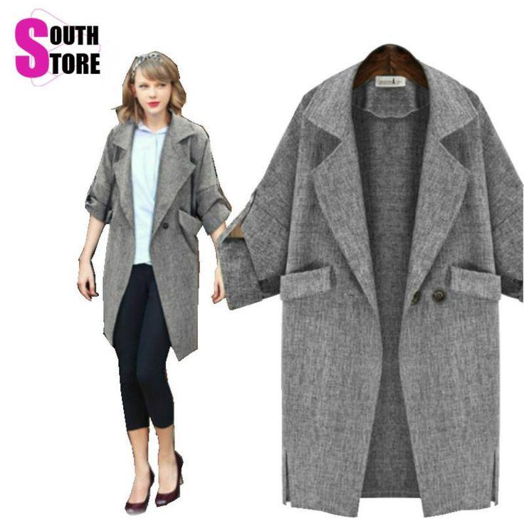 Warm Coat Women Midi Grey Casaco Feminino Casual Pocket Coat Abrigos Mujer Sobretudo Trench Hot