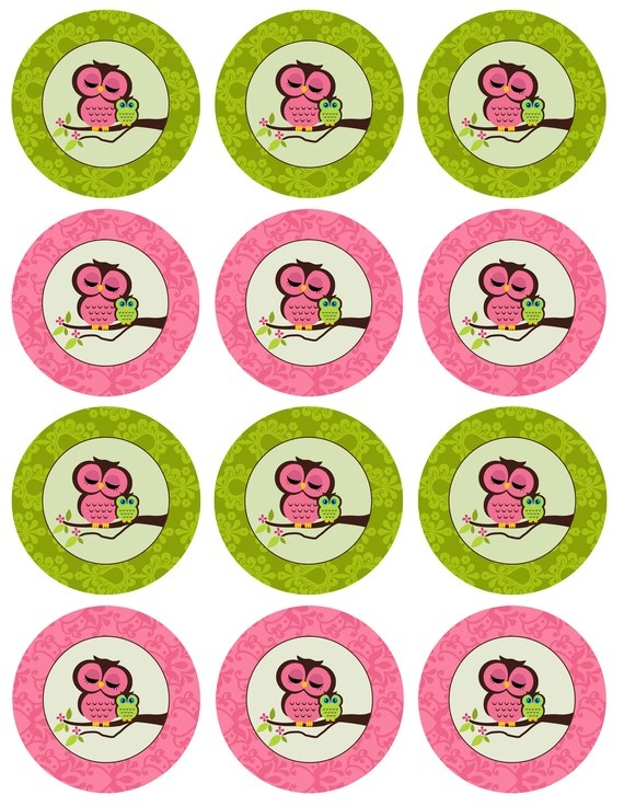 Diy printable owl baby shower cupcake toppers pink and for Baby shower cupcake picks decoration