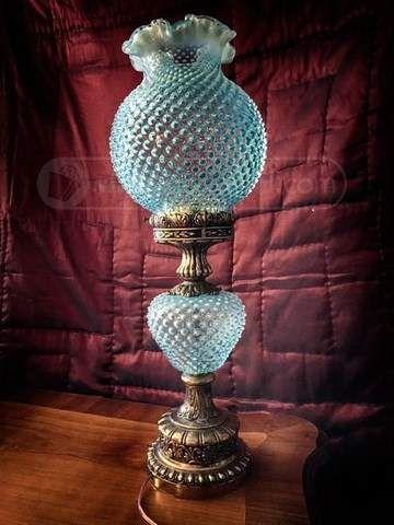 Fenton Blue Hobnail Lamp With Globe Shade Fenton Lamps
