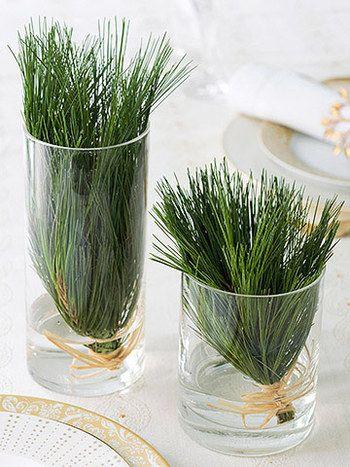 針のような葉の部分だけをまとめて、グラスに入れてテーブルに並べたら、シンプルなグリーンが映えてとてもキレイです。これならカンタンに真似できそう!
