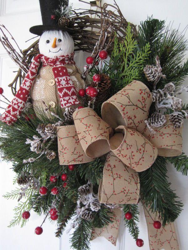 COUNTRY SNOWMAN Needle Pine Evergreens WINTER Grapevine Door Wreath #Handmade