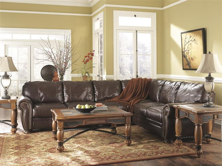 All Ashley Leather Sofa | about Ashley Palmer Traditional Classic Walnut Brown Leather Sofa ...