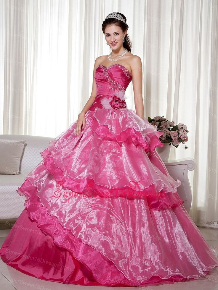 Hot Pink Ball Gown Sweetheart Floor-length Taffeta and Organza Beading and Hand Made Flower Sweet 16