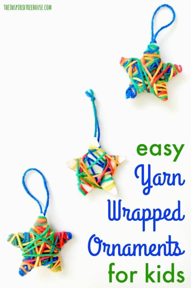 The Inspired Treehouse - Looking for easy Christmas crafts for kids? These yarn wrapped ornaments are perfect for this year's classroom holiday party!