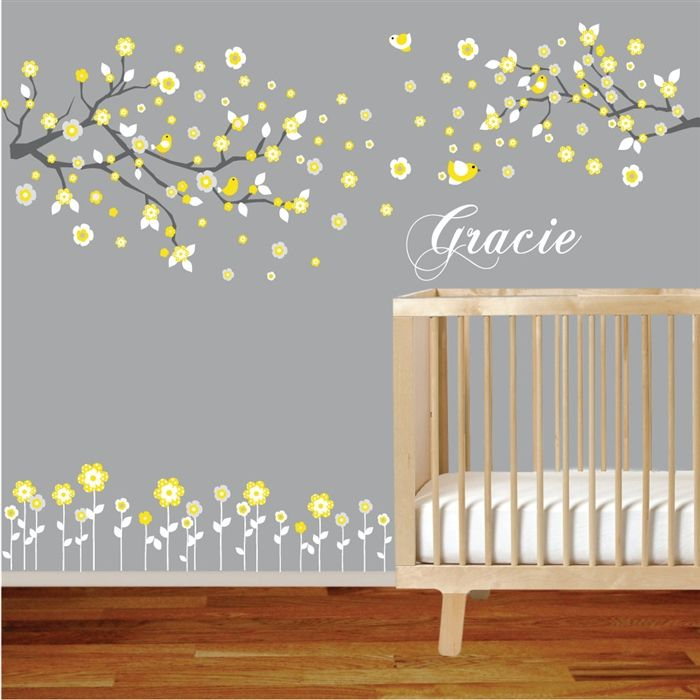 Branches and Flowers yellow nursery wall decal sticker with flowers, birds, custom name - Customize the colors!