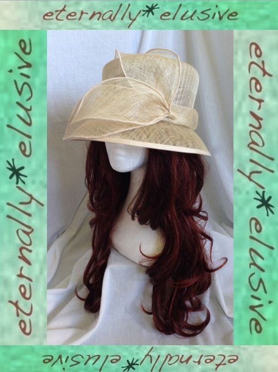 M&S Cream Straw Formal Occasion Hat Wedding Mother of the Bride Races Ladie 22.5