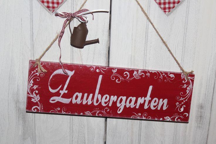 zaubergarten schild shabby Holz vintage von Inas Nordlichter auf DaWanda.com