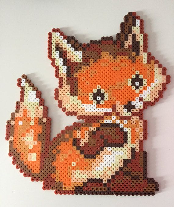 Baby Fox Perler Bead by PixelPrecious on Etsy