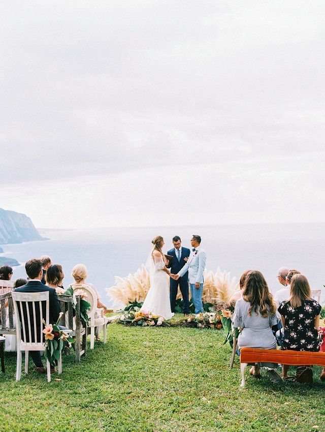 Rebecca Eryck Wedding Hawaii Ceremony Cliff Edge In 2020 Hawaii Wedding Wedding Beach Ceremony Small Beach Weddings