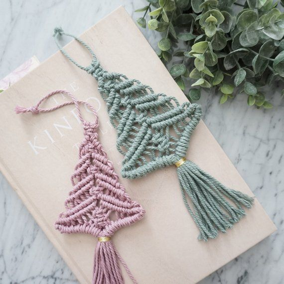 Macrame Christmas Ornament Macrame Christmas Tree Christmas Decor Holiday Home Decor C With Images Modern Macrame Christmas Crochet Small Christmas Trees Decorated
