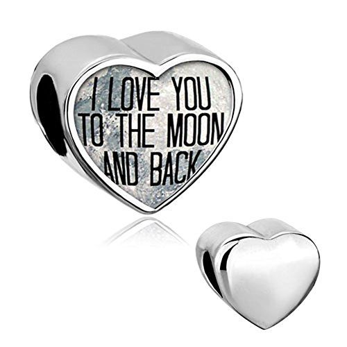"awesome Heart ""I Love You To The Moon and Back"" Silver Plated Jewelry Photo Beads fit Pandora Charm Bracelet"