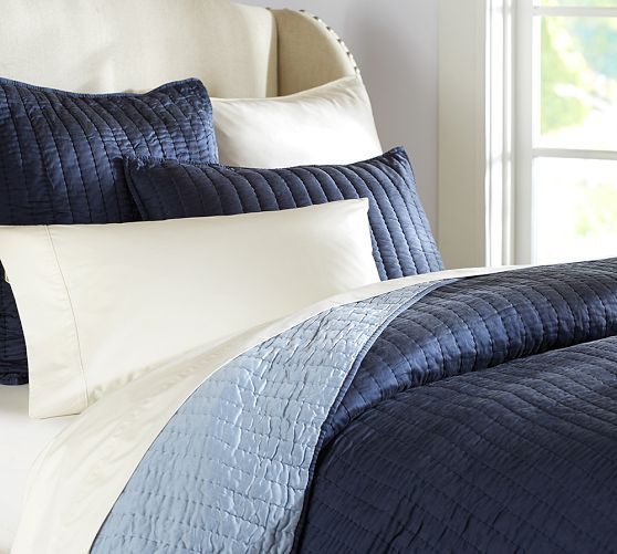 Silk Channel Two Toned Shams Quilt Bedding Blue Bedding