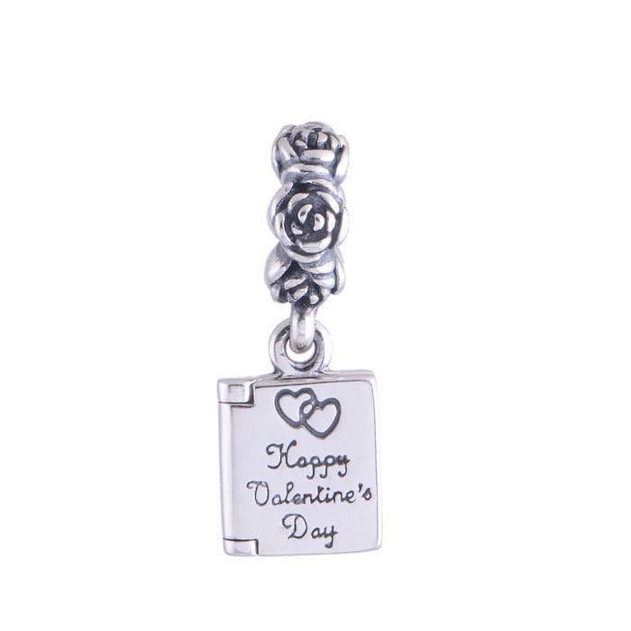 925 Sterling Silver Valentine's Day Card Dangle Charm Pendants Best Valentine Gift Fits European Bracelets FG LW363