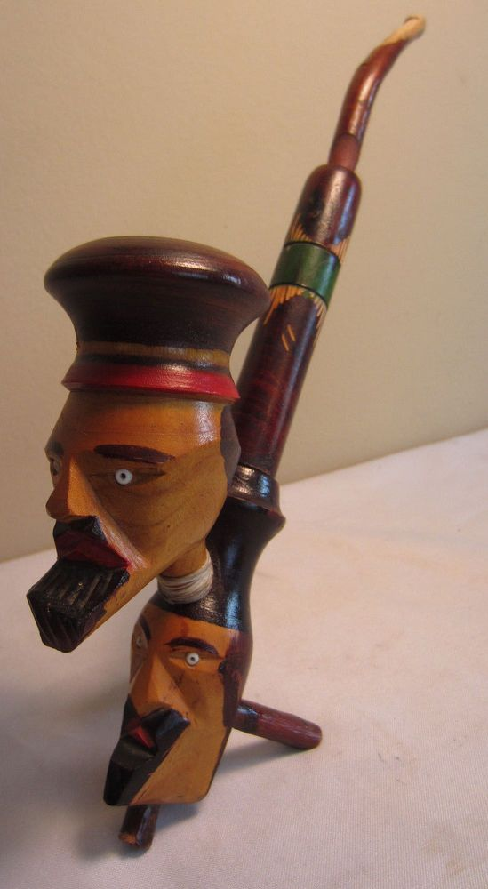 """Vintage Rastafarian 10"""" 2 Carved Faces Natural Tree Style Wooden Tobacco Pipe"""