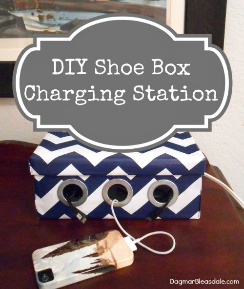 DIY Shoe Box Charging Station by Dagmar's Home  ~ shared at Brag About It Link Party on VMG206 (Monday's at Midnight). #BragAboutIt