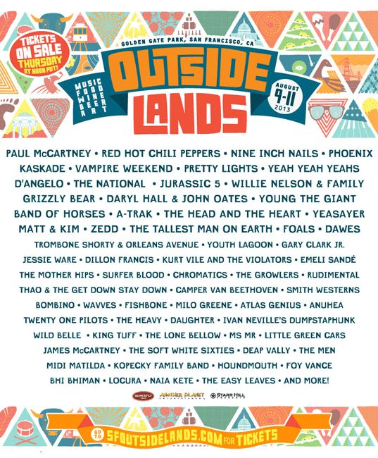 Outside Lands 2013 Music Festival, #SanFrancisco, California, August 9-11: Music - Food - Wine - Beer - Art