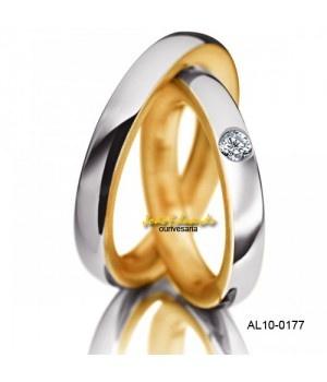 Par de alianças 6 mm de largura e 1 diamantes AL10-0177