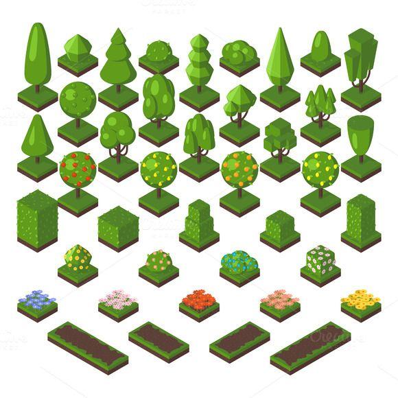 Green isometric tree vector set  @creativework247