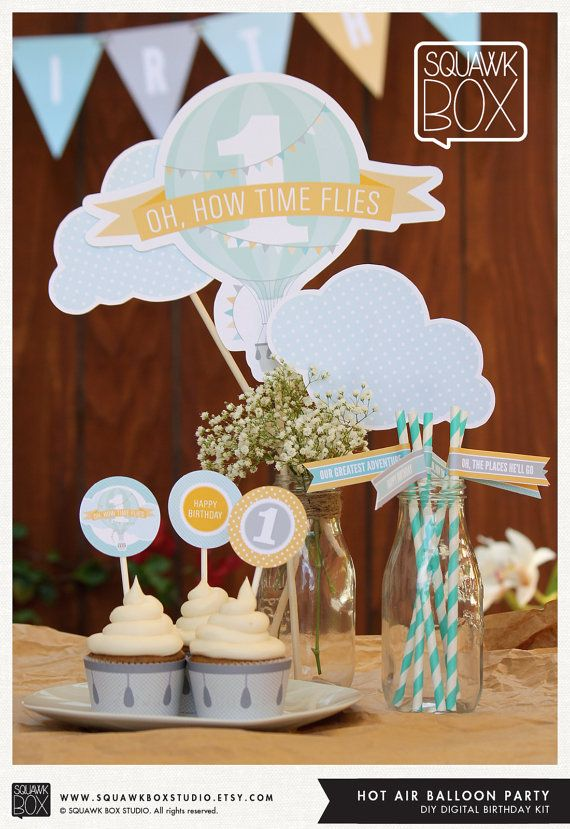 Hot Air Balloon Party Set for Boys or Girls – Printable First Birthday Party Kit by Squawk Box Studio