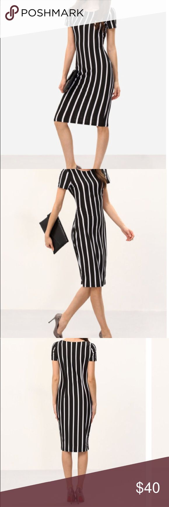 Fitted dress 🌺🌺🌺🌺🌺🌺🌺🌺💕💕💕💕💕 Stripe dress sexy yet sophisticated 🌺🌺🌺💕💕💕💕💕💕💕💕 Dresses Midi