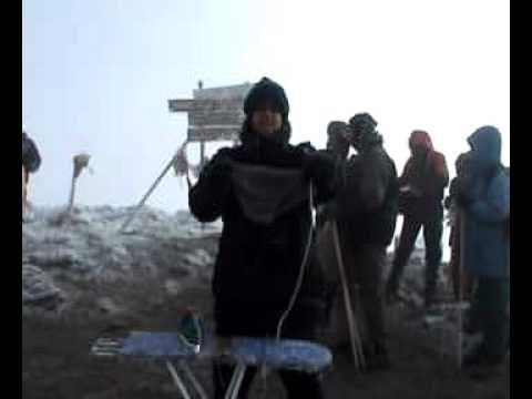summit of Kilimanjaro. A spot of extreme ironing to warm up the old hands.