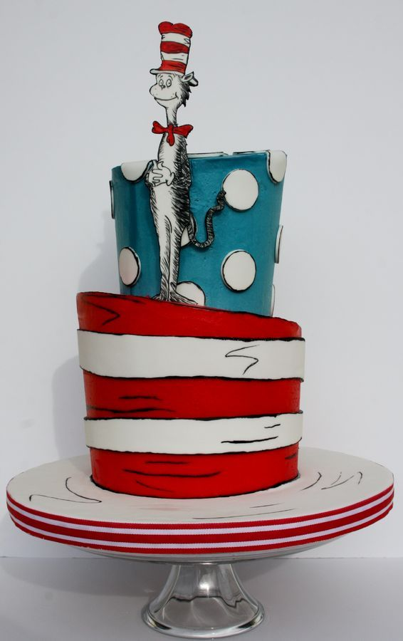 This is a topsy turvy Cat in the Hat  cake I made for a baby shower. I made the Cat out of gumpaste and hand painted the details on him. The cake is iced in buttercream and the white stripes and dots are fondant. I hope you like!
