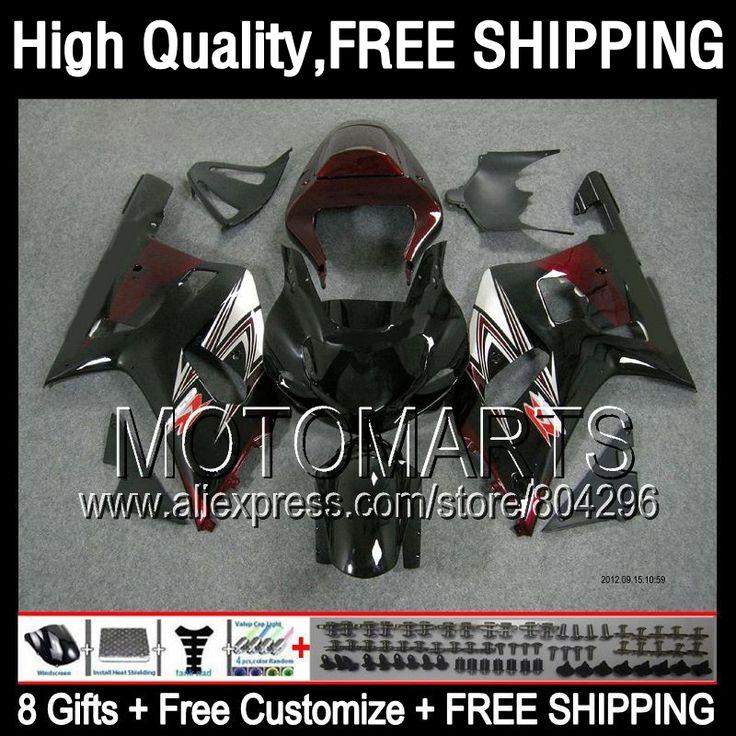 8Gift Fairing Red black For SUZUKI GSXR 600 750 K1 GSXR750 2001 2002 2003 1JK8183 R600 Dark red blk GSXR600 GSX R750 01 02 03