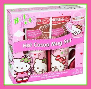 Ceramic Mugs Variety Hello Kitty Hot Cocoa Mug Set Hello Kitty has come a long. She was introduced in Japan in 1974, and she is still going strong. This set includes 2 mugs, 2 Hot Cocoa Packets with Marshmallows. http://theceramicchefknives.com/ceramic-mugs-variety/