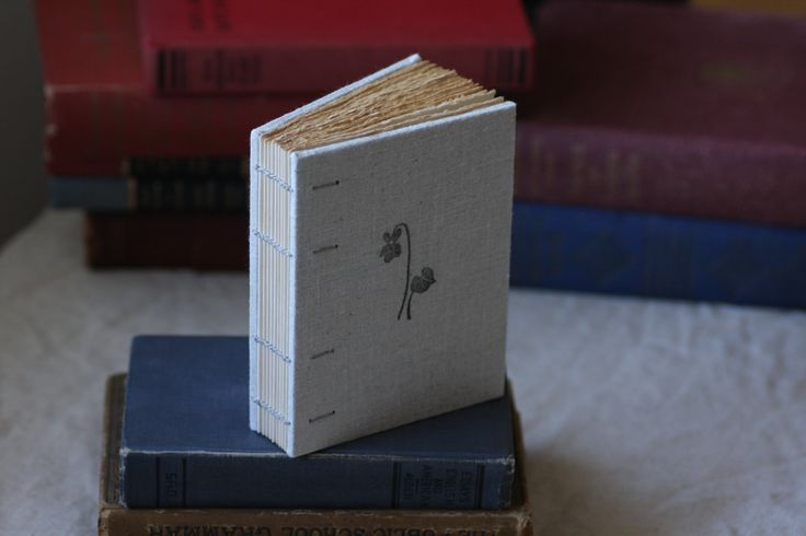 Handmade book with print of violet