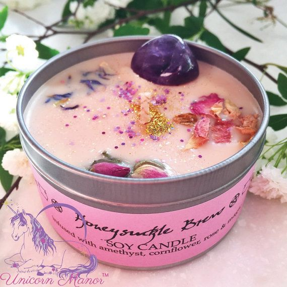 MYSTIC UNICORN Honeysuckle Brew crystal candle amethyst rose organic vegan soy candles glitter magic witch wicca aromatherapy Unicorn Manor