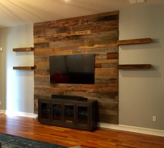 Orlando Barn Wood Accent Wall With Shelves Wooden Accent