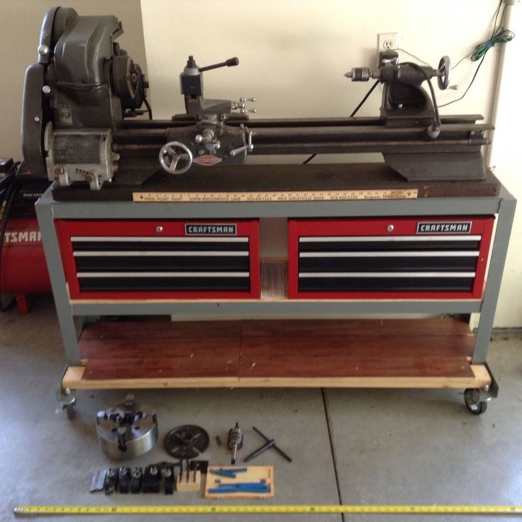 It has two threading charts on the inside cover. This lathe is a ( cast iron I believe ) bench lathe mounted on a thick wood board and metal stand on good caster rollers. There is tooling that IS INCLUDED in the sale price and will be listed below. | eBay!