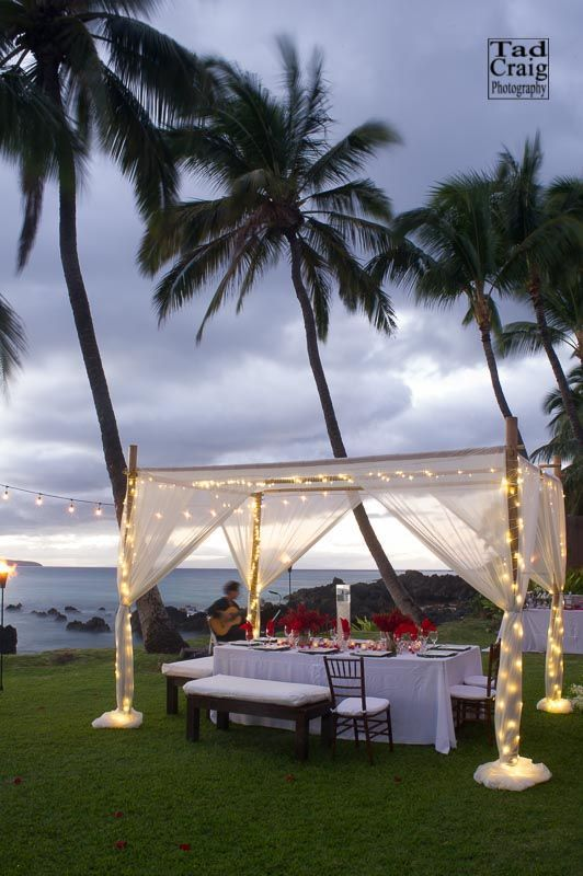 Gorgeous Setting At The White Orchid Beach House In Makena Hawai I Weddings