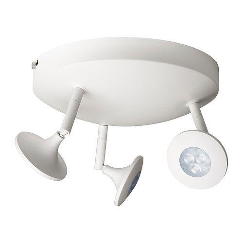 IKEA - CENTIGRAD, Rail plafond 3 spots LED, , Chaque spot peut être réglé séparément, ce qui vous permet d'orienter la lumière vers différents endroits.Grâce au variateur d'intensité lumineuse, vous réglez la lumière selon vos besoins.La source lumineuse à LED consomme près de 85% d'électricité en moins et dure 20 fois plus longtemps qu'une ampoule à incandescence.