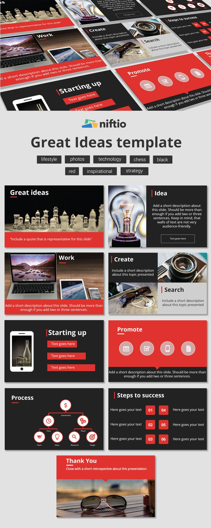 We all have Great Ideas. Let's share them with the world using this presentation template.  #work #create #promote #startup