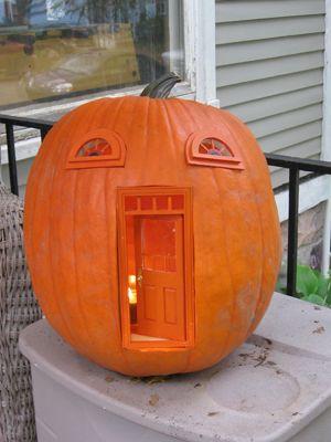 Urban Fairies, fairy doors, fairy door, Pumpkin, Jack-o-lantern, Halloween, fairy pumpkin cottage