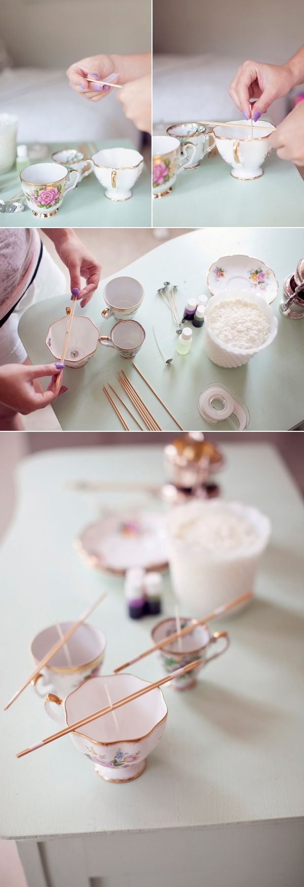 12 Handmade Gift Ideas - make your own candles in vintage antique teacups. LOVE this idea! This would make such a cute gift!