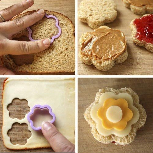 For toddler tea party! Little appetizers with different cut outs. Looks easy, only hard part is finding a good cookie cutter!