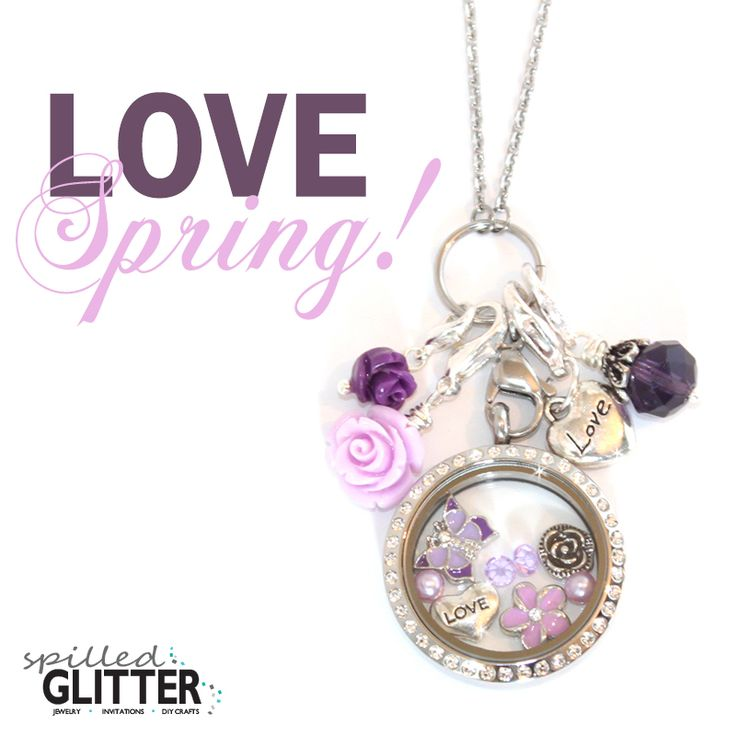 Love Purple Flowers Floating Locket Necklace Charm Collection by #SpilledGlitterSTL