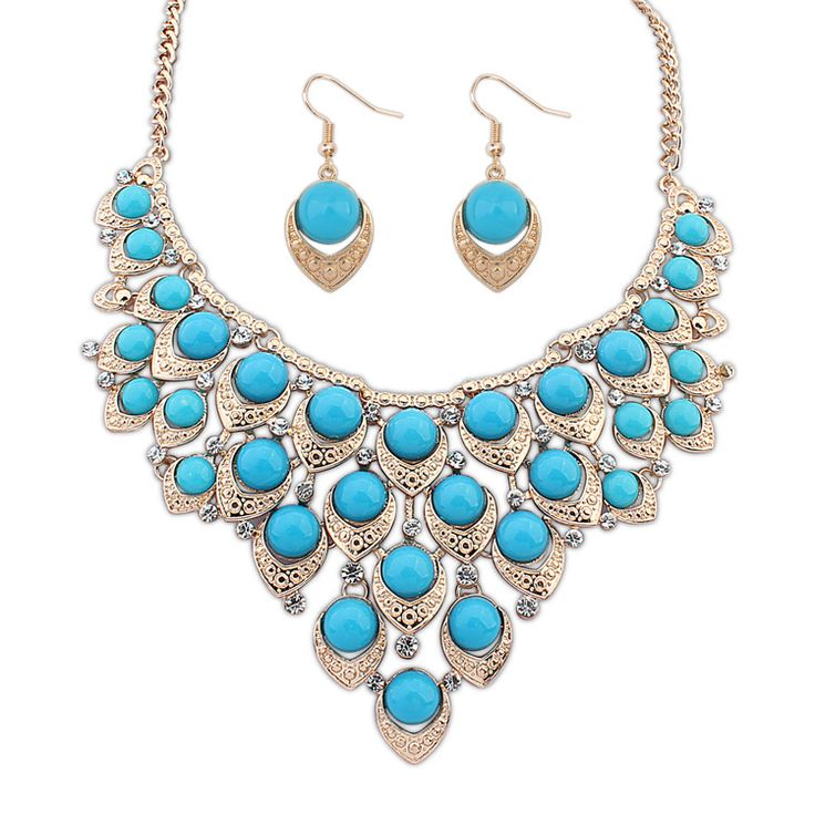 Statement Jewelry Sets, earring & necklace, Zinc Alloy, with Resin, real gold plated, light blue, 50x8cm, 2.5x1.7cm, Length:Approx 19.5 Inch,china wholesale jewelry beads