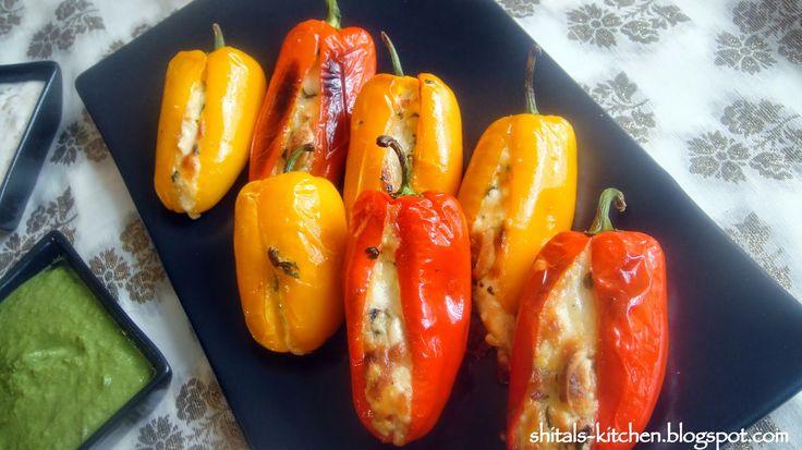 Shital's-Kitchen: Purple Yam Patties and Stuffed Sweet Peppers