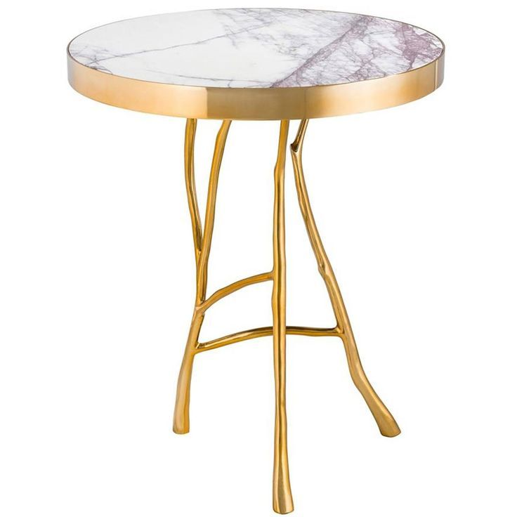 Branches Marble Side Table In Gold Finish Or Bronze Finish Marmor Beistelltisch Beistelltisch Rund Beistelltisch