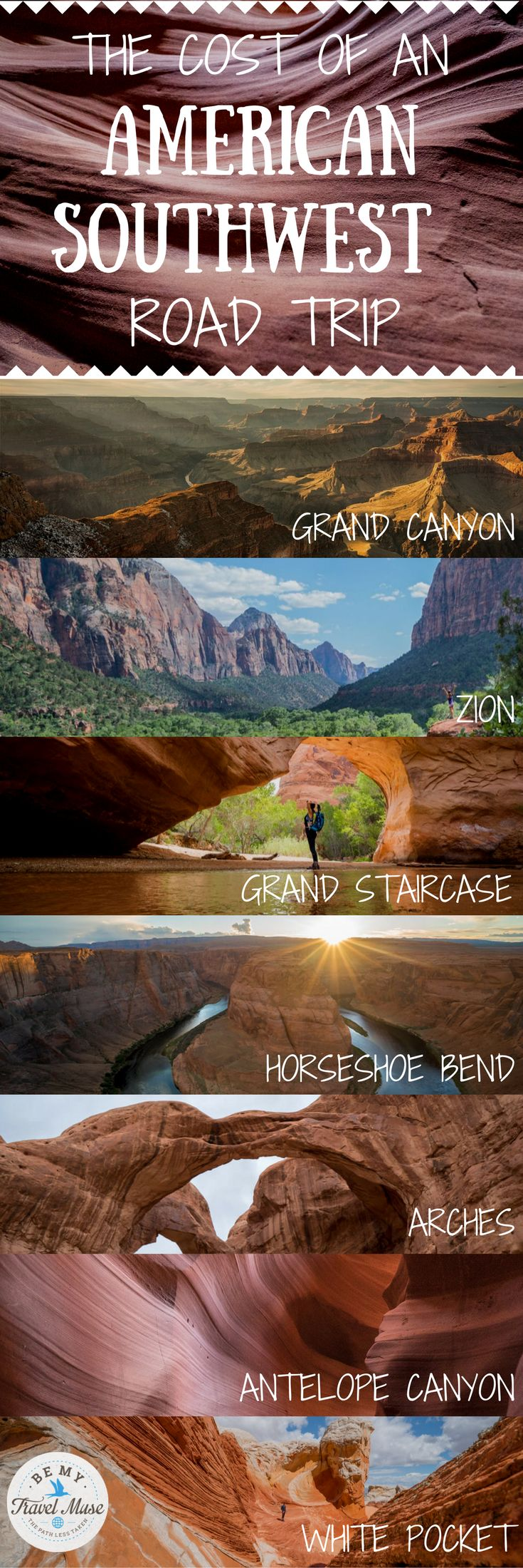 What it costs to road trip through America's Southwest with stops at major national parks and landmarks throughout Nevada, Arizona and Utah. How to budget for accommodation, food, activities and transport. Travel in the USA. || Be My Travel Muse