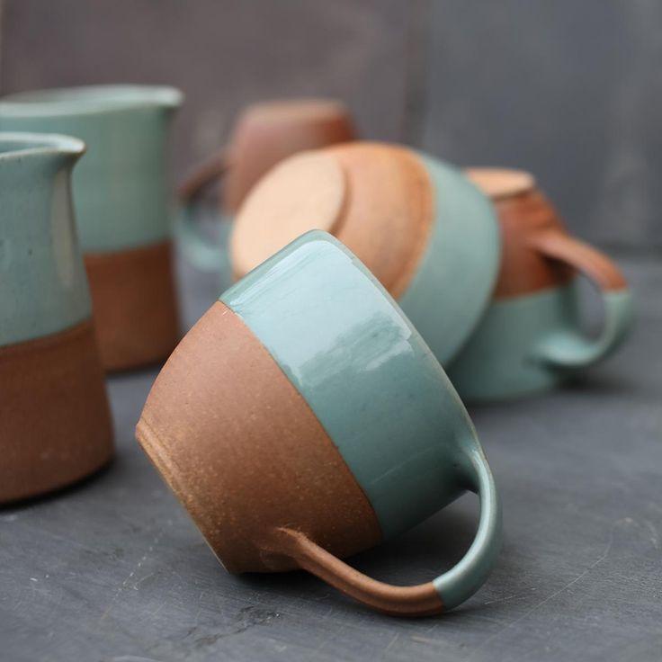 Mali Ceramic Coffee Mug in Seagreen/Terracotta - £9.95.