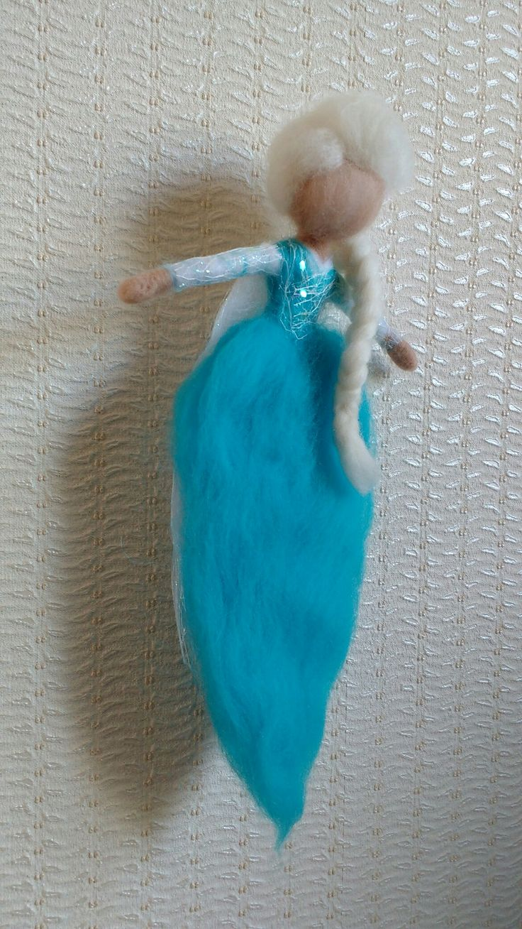 Needle Felted Elsa Frozen Märchenwolle Eiskönigin